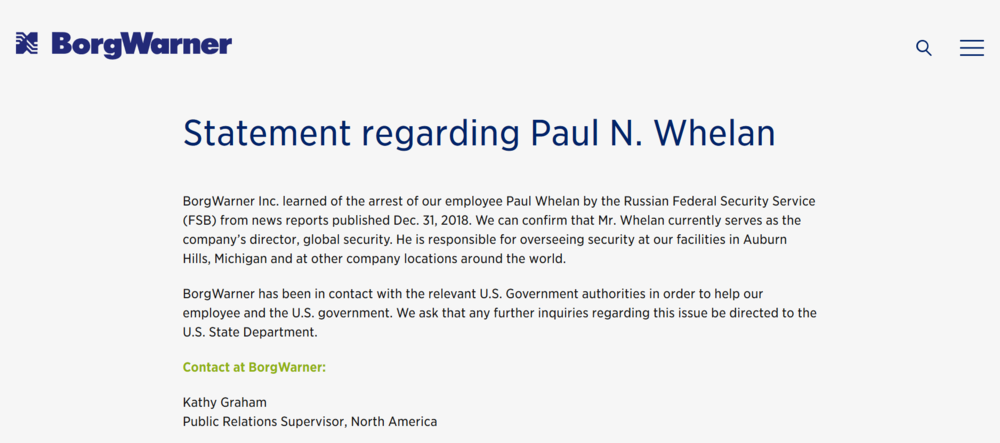 BorgWarne press release New Year's Day Paul Whelan.png
