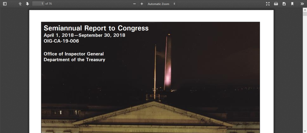 Inspector General report to Congress Sept 2018 Treasury.png