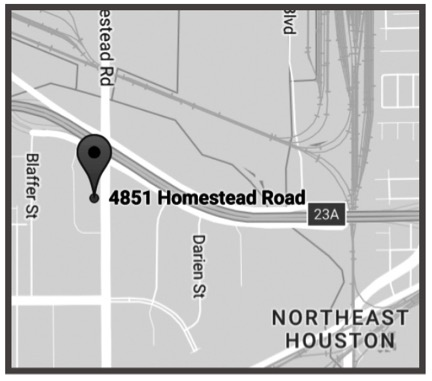 HOUSTON - 4851 Homestead RdSuite 148Houston, TX 77028Ph: 713-678-4283Fx: 713-675-1795