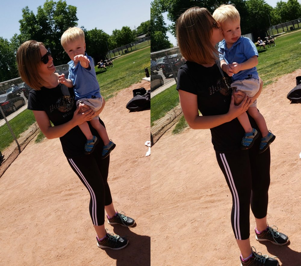 Gabey and I cheering on his brother (and Coach Daddy) at one of his baseball games! These silky and flattering pants are the  Dual Track Capris , which you need in your life right. this. second.