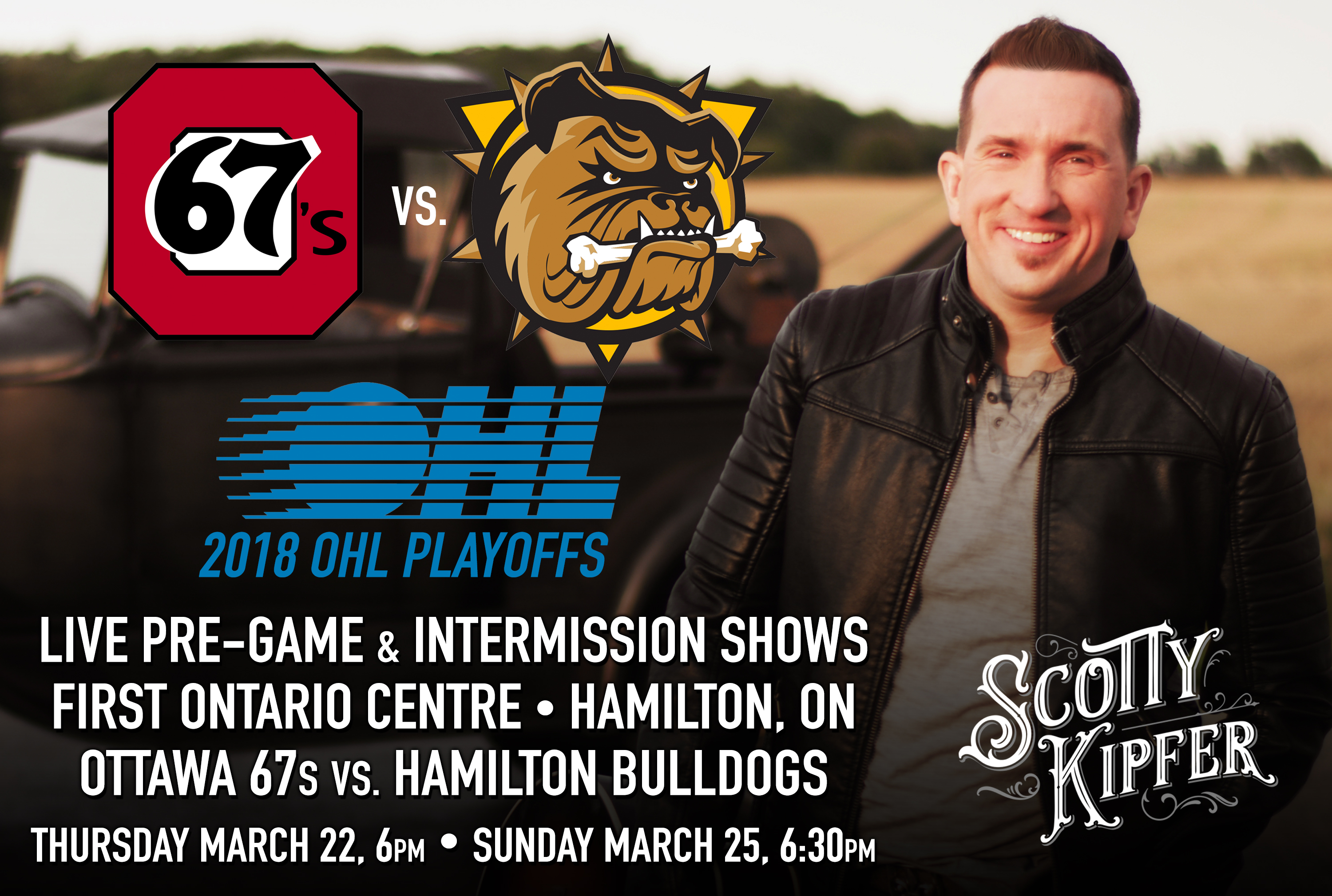 Scotty will perform live pre-game shows for Hamilton Bulldogs playoff games at First Ontario Centre in Hamilton Ontario, March 22, and March 25. The Bulldogs take on the Ottawa 67s in round one of the 2018 OHL Playoffs.
