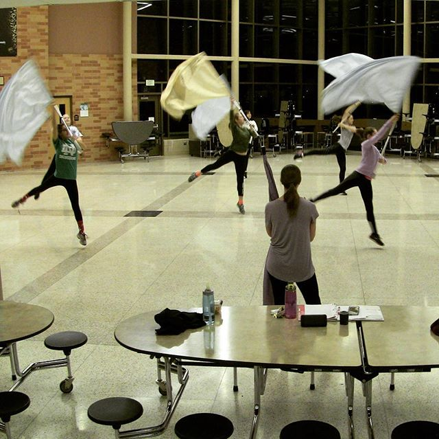 ER Winter Guard is already hard at work preparing for @northstarcircuit competitions! See you at premiers on Jan 26th!! 👯🎉❄️ #guard #colorguard #band #winterguard