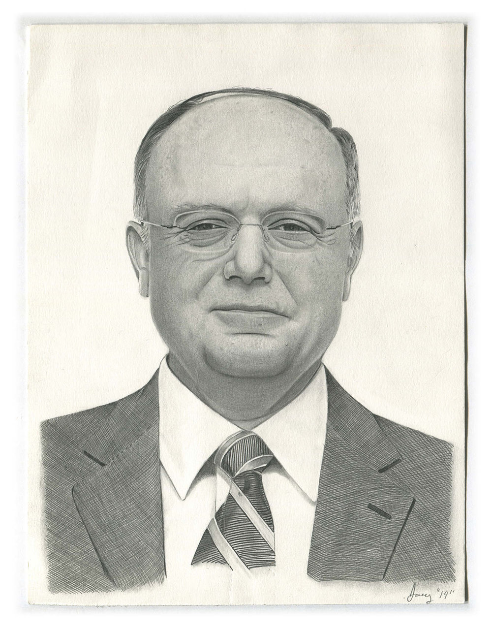 CEO of Pfizer as drawn by a man serving four years for auto theft -