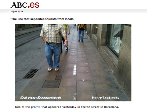 """Excerpt from a Barcelona news article: - """"As to the authorship of these lanes that separate visitors to the premises, it's not known if this is an artist who prefers to remain anonymous or a viral campaign. What is certain is an initiative of the same nature was held in New York City two weeks ago and generated some controversy among the citizens of the Big Apple."""""""