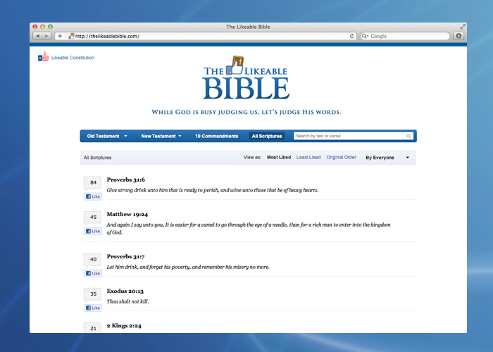 The project also comes in a religious version. Visit  TheLikeableBible.com