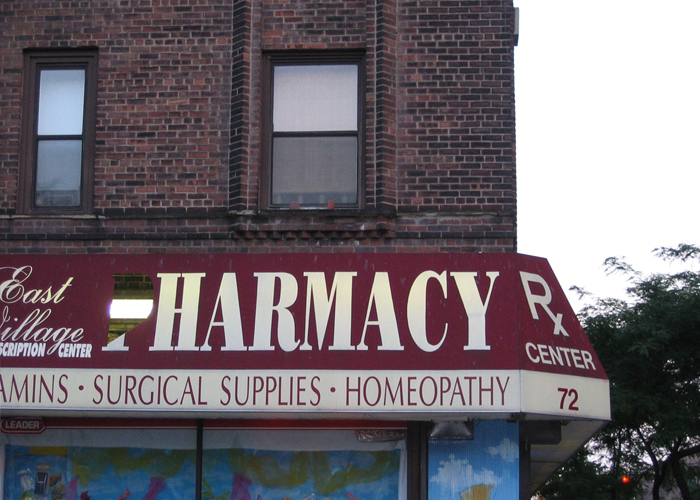 When people need one medication to battle the symptoms of another, this sign might be right. – 5th and A, NYC