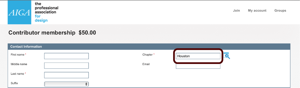Select  Houston  as your chapter, and fill out the rest of the form.