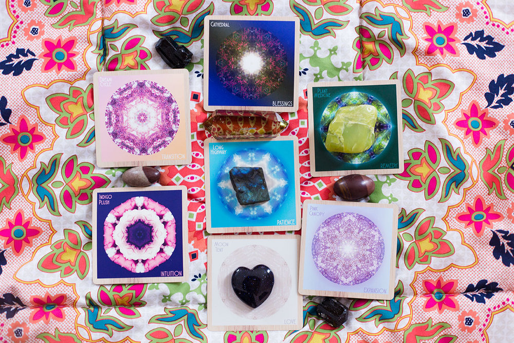 Indigo Corners™ Oracle New Moon in Leo ☆7 Card Mandala Spread: Card 1 (Present): Dream Cycle/TRANSITION, Card 2 (Future): Cathedral/BLESSINGS, Card 3 (What to focus on) Plant Medicine/REMEDY, Card 4 (What to move through and release) Pink Canopy/EXPANSION, Card 5 (What is hidden) Moon Tent/LOVE, Card 6 (Additional info) Indigo Plush/INTUITION, Card 7 (Theme) Long Highway/PATIENCE. Crystals: black tourmaline for staying grounded amongst great change, shiva lingam for vitality and energetic expansion, smokey citrine for connecting the boundary dots, labradorite for big magic, serpentine for surrender to what is fully, blue goldstone for personal power.