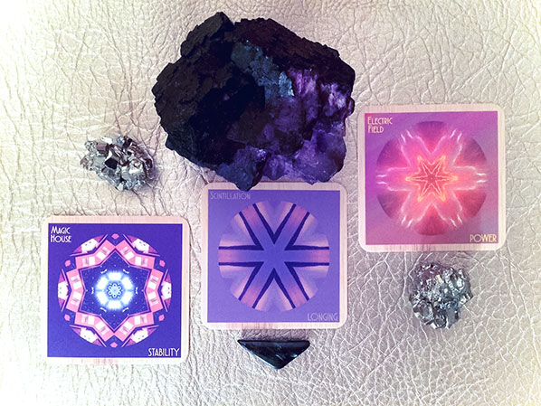 Cards: Magic House/STABILITY, Scintillation/LONGING, Electric Field/POWER Crystals: pyrite for dreaming big and going far, nuummite for deep uncovering, purple fluorite for self safety and tuning out chatter.