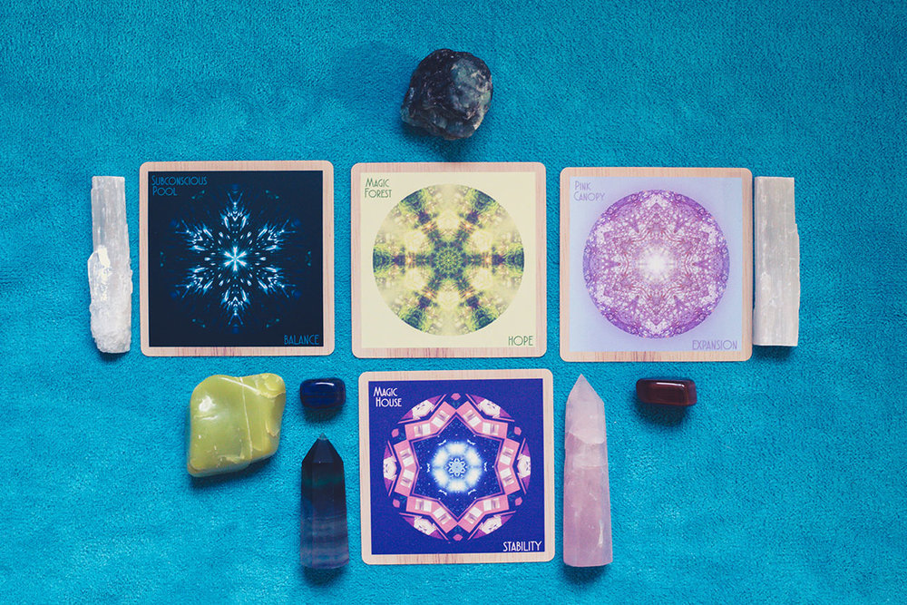 Cards: Subconscious Pool/BALANCE, Magic Forest/HOPE, Pink Canopy/EXPANSION, Magic House/STABILITY. Crystals: selenite for higher vibes, emerald, serpentine and fluorite wand for a strong but open heart, lapis for great seeing, tiger's eye for strength and personal power.
