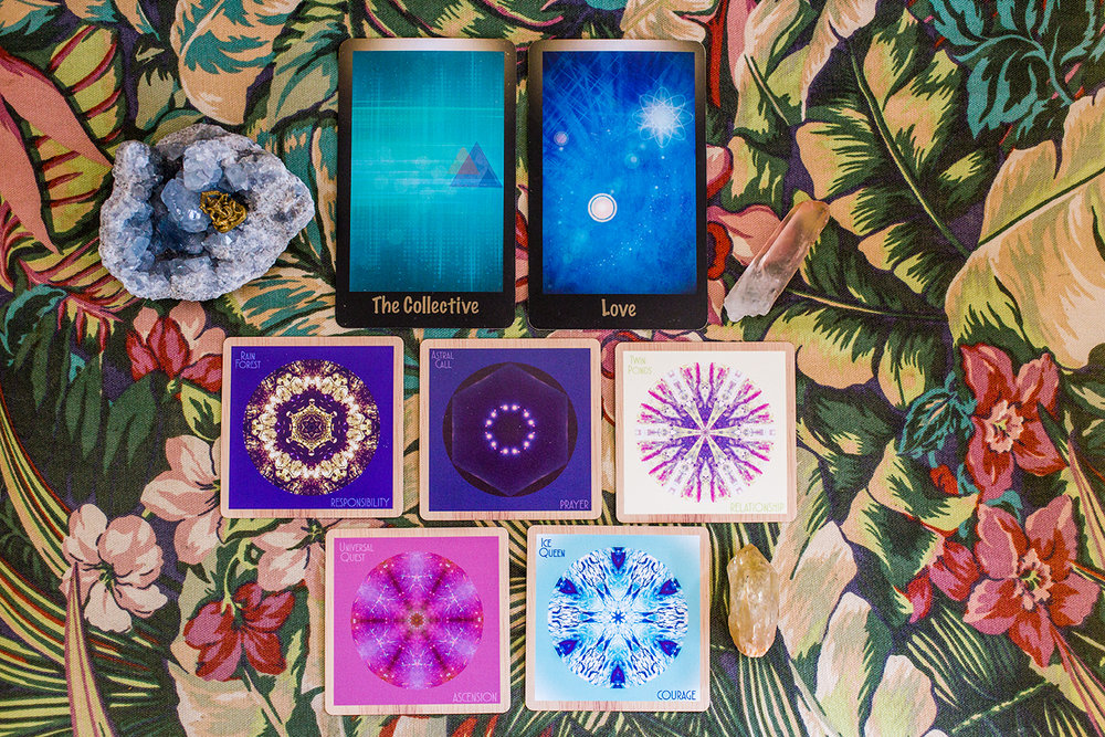 Cards: From Keri Nola's Messages From Shadow, The Collective, Love. From Indigo Corners Mandala Oracle, Rain Forest/RESPONSIBILITY, Astral Call/PRAYER, Twin Ponds/RELATIONSHIP, Universal Quest/ASCENSION, Ice Queen/COURAGE
