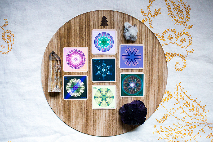 ☆7 Card Mandala Spread: Card 1 (Present):Dream Cycle/TRANSITION, Card 2 (Future):Seahorse Dream/EASE, Card 3 (What to focus on) Scintillation/LONGING, Card 4 (What to move through and release) Earth Sanctuary/GROUNDING, Card 5 (What is hidden) Magic Forest/HOPE, Card 6 (Additional info) Dear Forest/SHADOWS, Card 7 (Theme) Subconscious Pool/BALANCE. Crystals: Smokey quartz for staying connected to a higher reality, purple fluorite for knowing and sticking to our truth, apophyllite for receiving divine guidance.