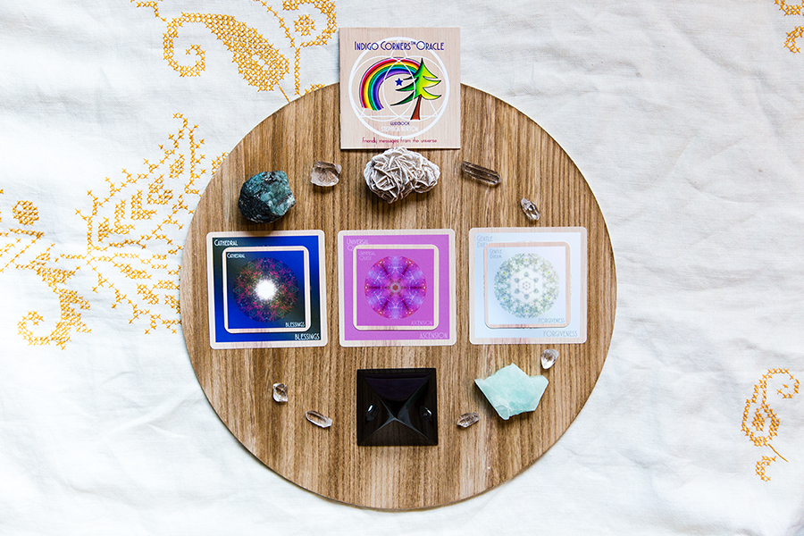 Cards: Cathedral/BLESSINGS, Universal Quest/ASCENSION, Gentle Dream/FORGIVENESS Crystals: Emerald for strong heart-centered self-awareness, desert rose for forgiveness of self and others, aquamarine for living the truth and connecting with others on a higher frequency, obsidian pyramid for grounding structures.