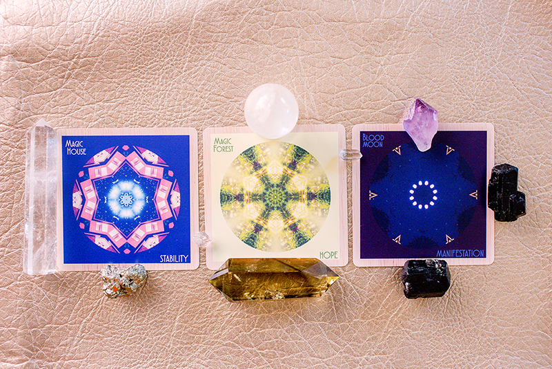 ☆Cards: Magic House/STABILITY, Magic Forest/HOPE, Blood Moon/MANIFESTATION Crystals: pyrite and black tourmaline for knowing grounding inside our hearts, smokey citrine for seeing no difference between dark and light, double-terminated herkimer diamond for bringing it all together with crystal clear clarity, amethyst for taking care of ourselves while we feel and see things differently.
