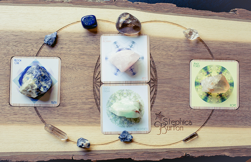 Cards/Crystals: Moon Orb/FAITH (sodalite for understanding boundary), Soft Morning/REST (rose quartz for setting expansive boundary), Gentle Dream/FORGIVENESS (green calcite for receiving the benefits of love), Magic Forest/HOPE (tangerine quartz for releasing patterns from ego)