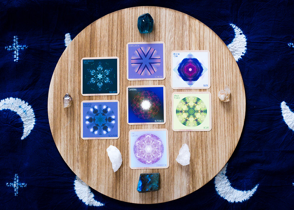 Indigo Corners™ Oracle Full Moon in Taurus ☆7 Card Mandala Spread: Card 1 (Present): Subconscious Pool/BALANCE, Card 2 (Future): Scintillation/LONGING, Card 3 (What to focus on) Moon Orb/FAITH, Card 4 (What to move through and release) Magic Forest/HOPE, Card 5 (What is hidden) Pink Canopy/EXPANSION, Card 6 (What else to focus on) Evergreen Guardians/SOLITUDE (Theme) Cathedral/BLESSINGS. Crystals: frozen quartz for walking with fear, labradorite for personal power, magic and inspiration, smokey quartz for staying grounded in being, quartz cluster for celebrating community.