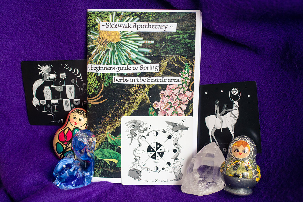 Inspiration for the New Moon in Aries: Dark Days Tarot deck and Willow Bear's Sidewalk Apothecary Zine (links on  Instagram )