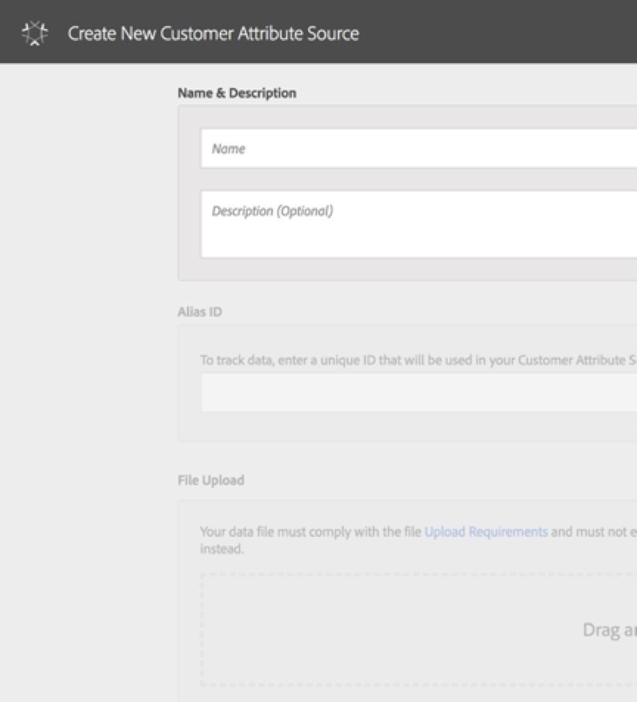 Create Customer Attribute Source in Adobe Experience Cloud
