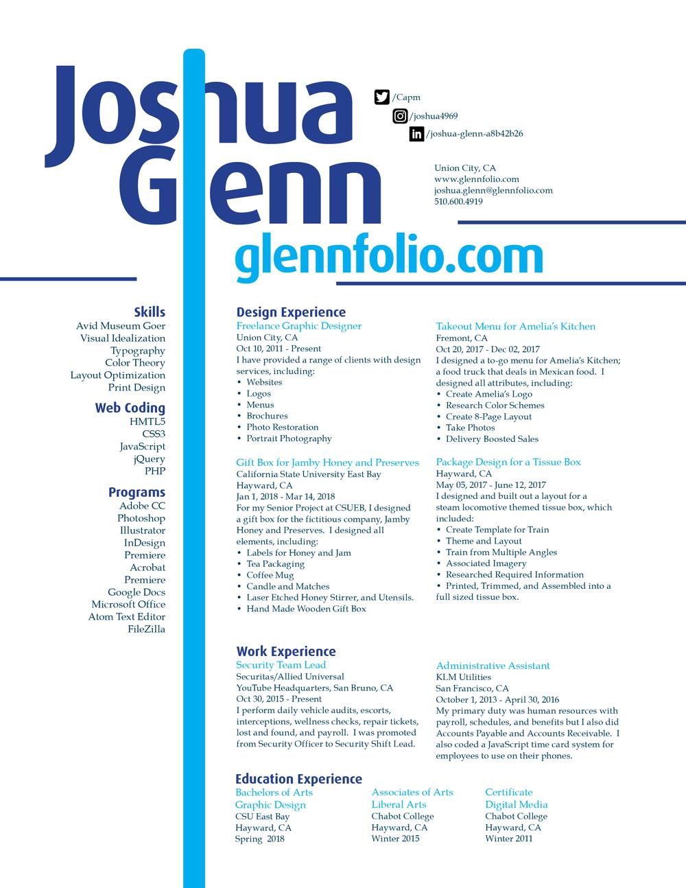 Resume — Glennfolio