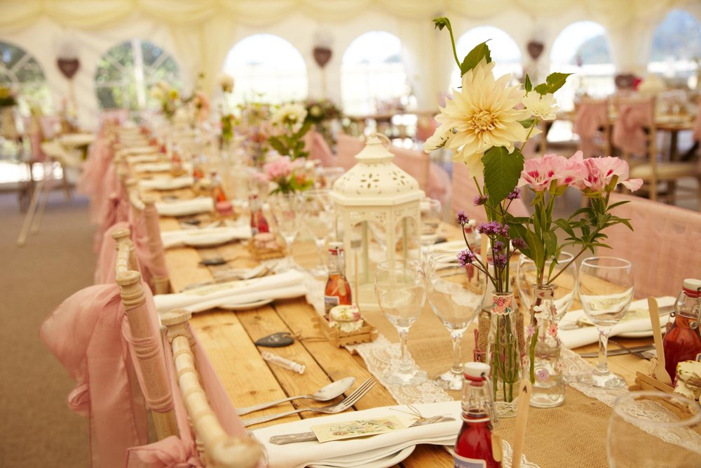 Wedding Reception Table Details at Huntstile Farm