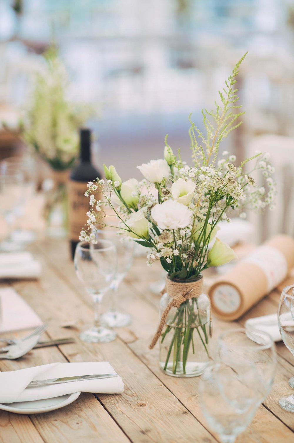 Wedding Reception at Huntstile FarmTable Decoration