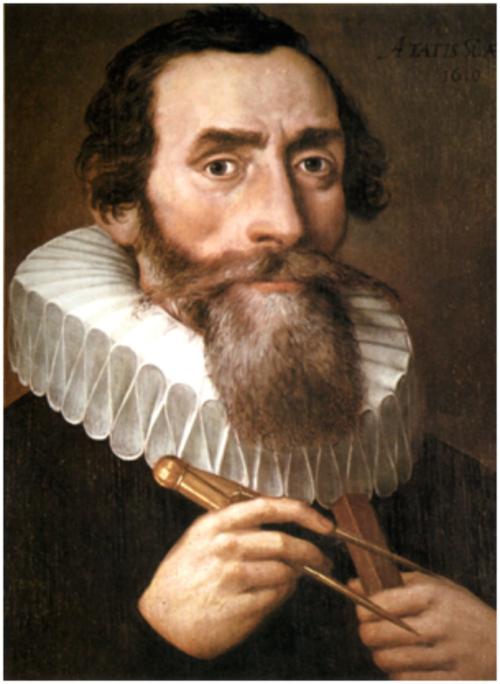 Johannes Kepler 1571 -1630.    Painted by an unknown painter in 1610.   Copy of a lost original from 1610 in the Benedictine monastery in Kremsmünster   PD-Art    Kepler was a German mathematician and optician, known for his laws of planetary motion, based on his works Astronomia nova, Harmonices Mundi, and Epitome of Copernican Astronomy. These works also provided one of the foundations for Isaac Newton's theory of universal gravitation.