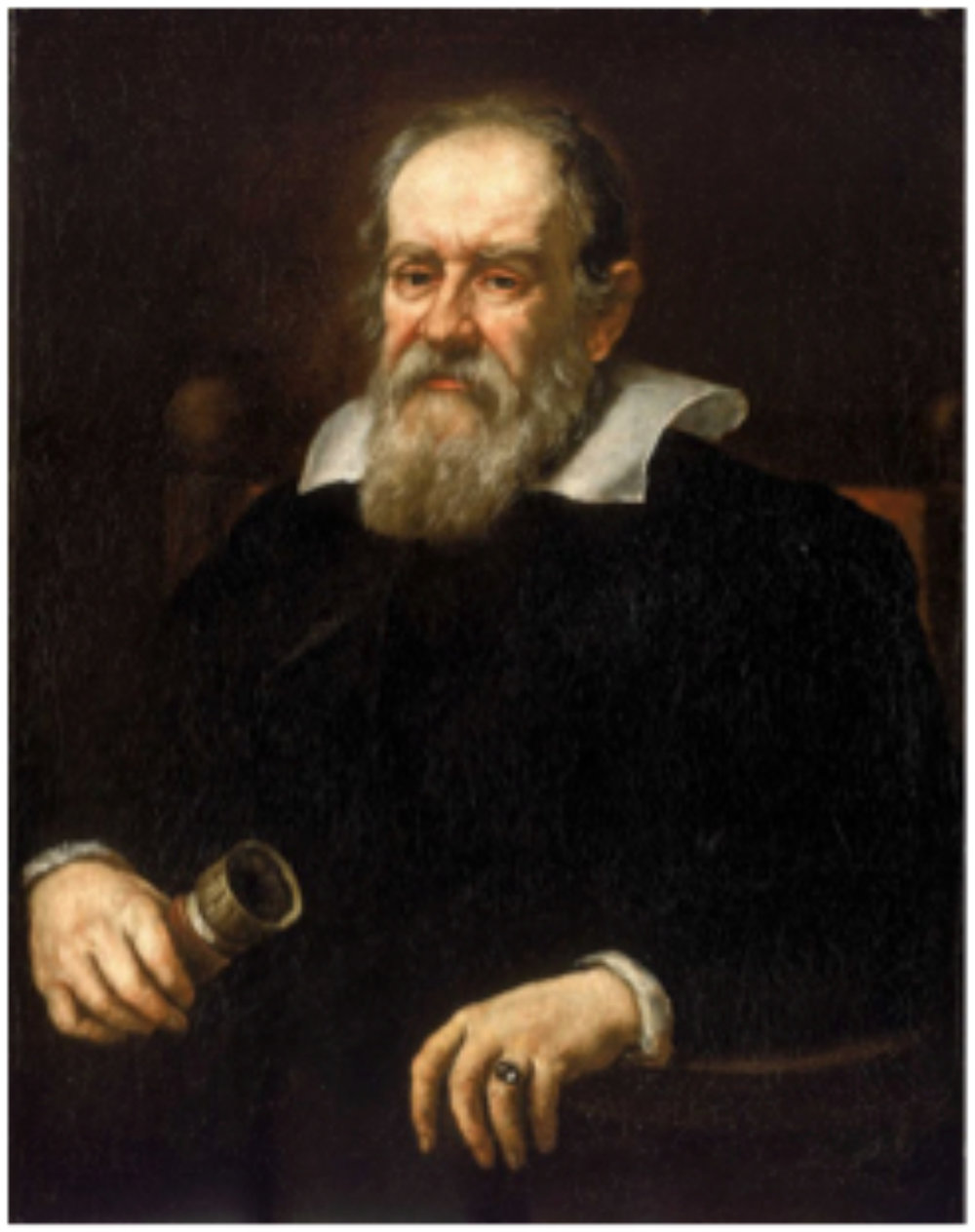 Justus Sustermans 1637 portrait of Galileo Galilei 1564 – 1642   in the Uffizi, Florence.    Galileo Galilei was an Italian polymath and has been named the father of science and became a central figure in the transition from natural philosophy to modern science and transformed the scientific Renaissance into a scientific revolution.     (This is a cropping of File: Galileo-sustermans2.jpg    http://www.uffizi.org    PD-Art)
