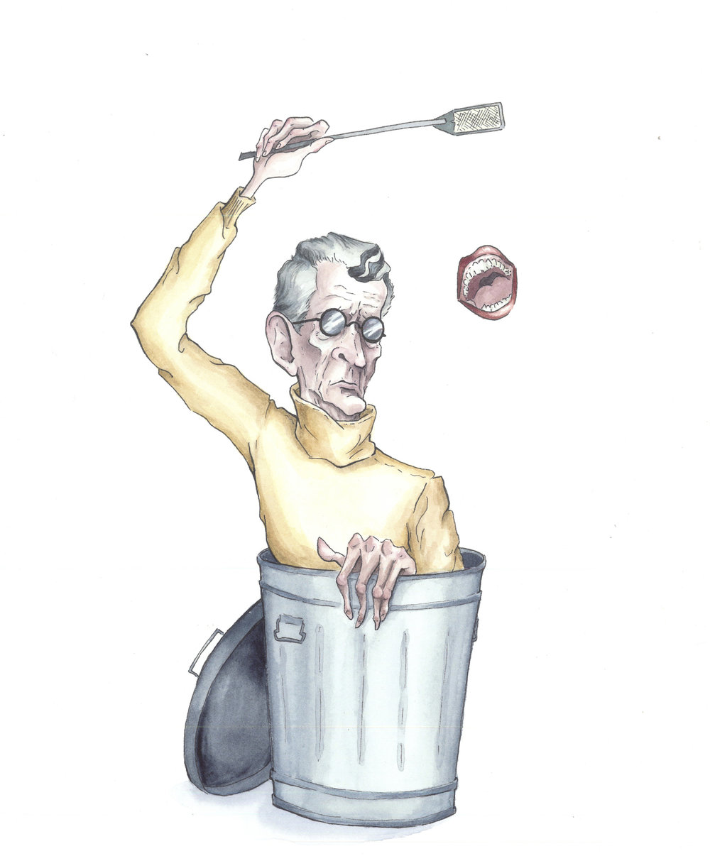 Samuel Beckett, Not I   watercolor on paper