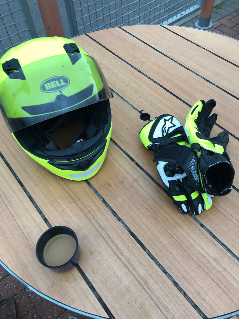 I have a number of helmets, one of my favourites is this Bell Full face. it is light and has great sound proofing, combined with good air vents. The gloves are Alpinestars and so good. Comfy, warm and flexible.