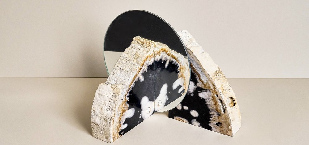 PETRIFIED WOOD BOOKENDS -