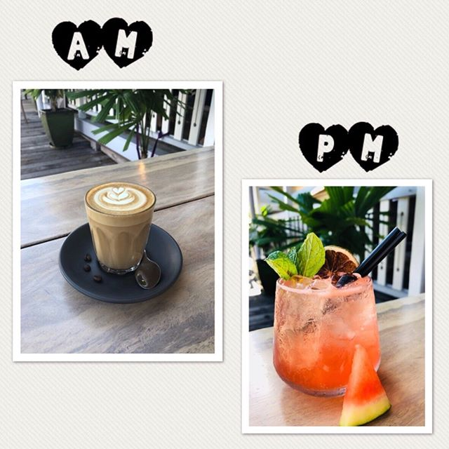 Come for the coffee, stay for the cocktails #latte #loveyoualatte  #sunsetsession #happyweekend #cocktails #tapas #tgif