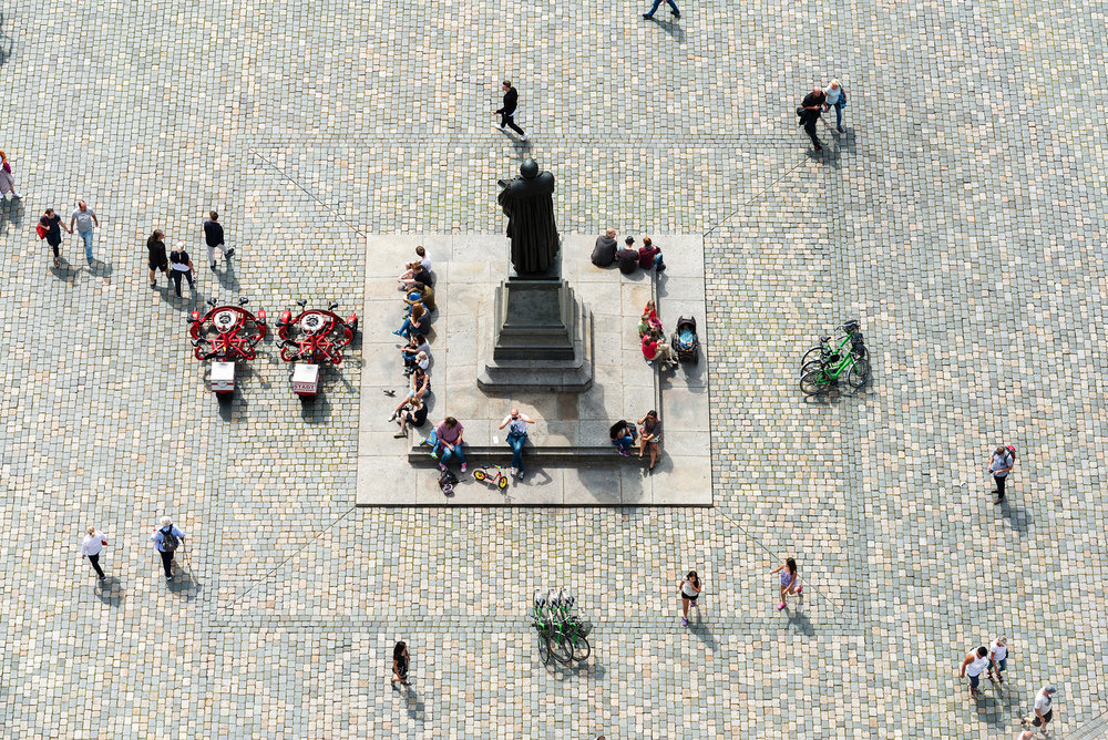 Martin Luther statue in Neumarkt square