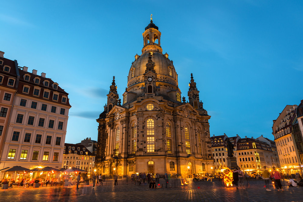 Night view of the Neumarkt and Frauenkirche