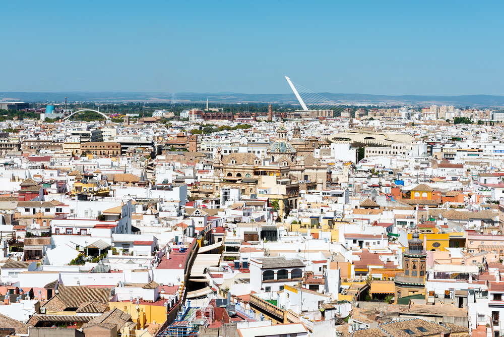 Aerial view of Seville on a sunny day