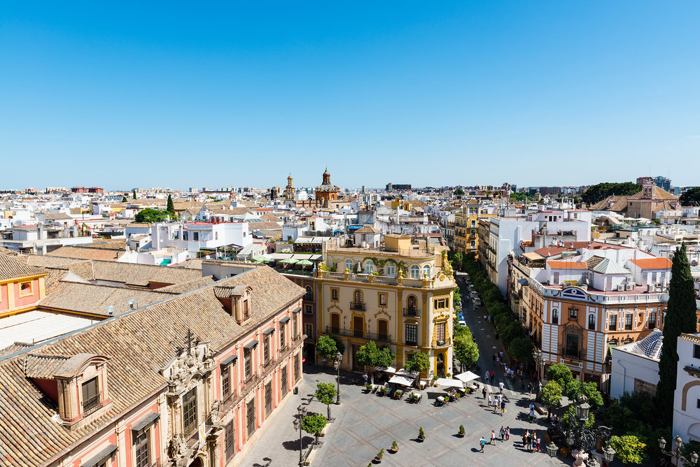 Rooftops of Seville on a sunny day