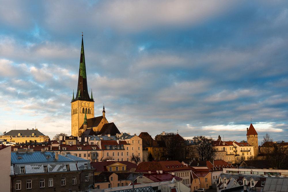 Dawn illuminating Tallinn's old town