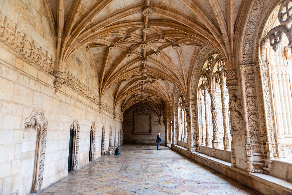 Manueline ornamentation in the cloister of Jeronimos Monastery