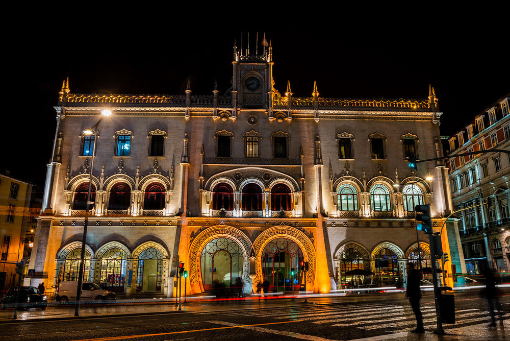 Neo-Manueline facade of the Rossio Railway Station