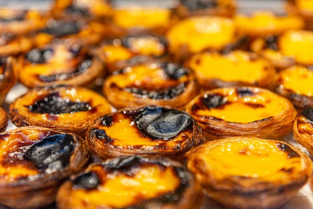 Fresh pasteis de nata (typical Portuguese egg tarts)