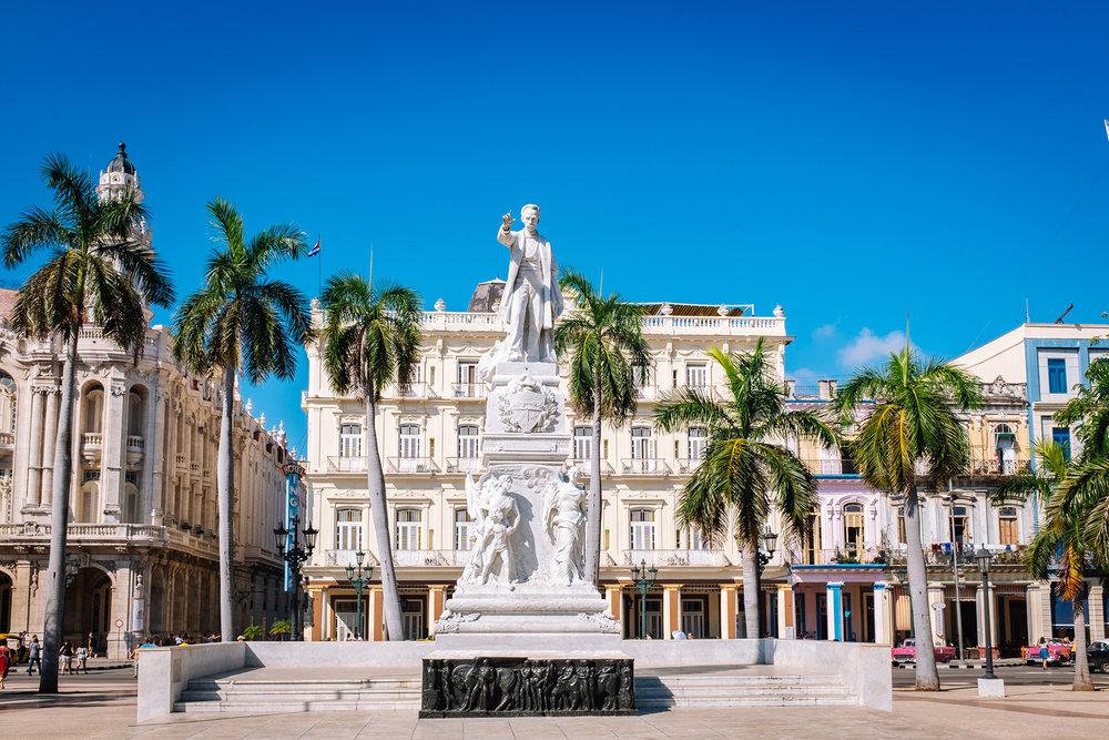 Marble statue of Jose Marti in the Parque Central