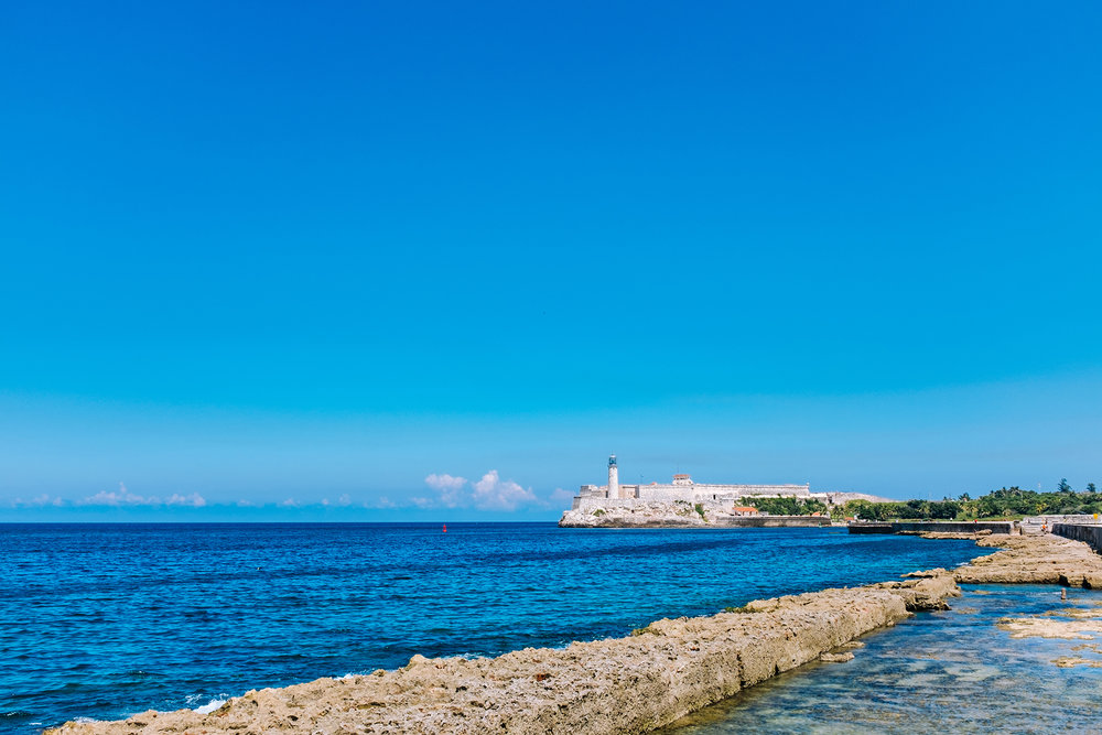 Malecon and el Morro Castle fortress and lighthouse in Havana bay