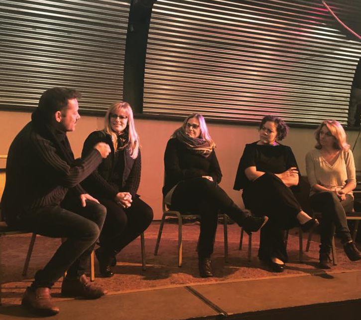 (Left to right) Artistic Director David Girard with Director, Yvonne Perry, Playwright, Christina Gorman, and actors Erica Tryon and Brenny Rabine at inaugural Dark Day Mondays series which premiered at the Hangar on the Hudson.