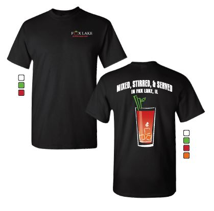 T-Shirts - T-shirts are unisex and are $15.00 each. Front has an image of the Official Fox Lake Bloody Mary Fest logo, and the back has a decortative Bloody Mary glass with the Fox Lake Anchor and reads
