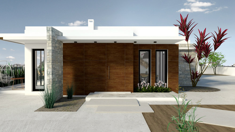 ENTRYWAY RENDER - WOOD CLADDING STONE WALL