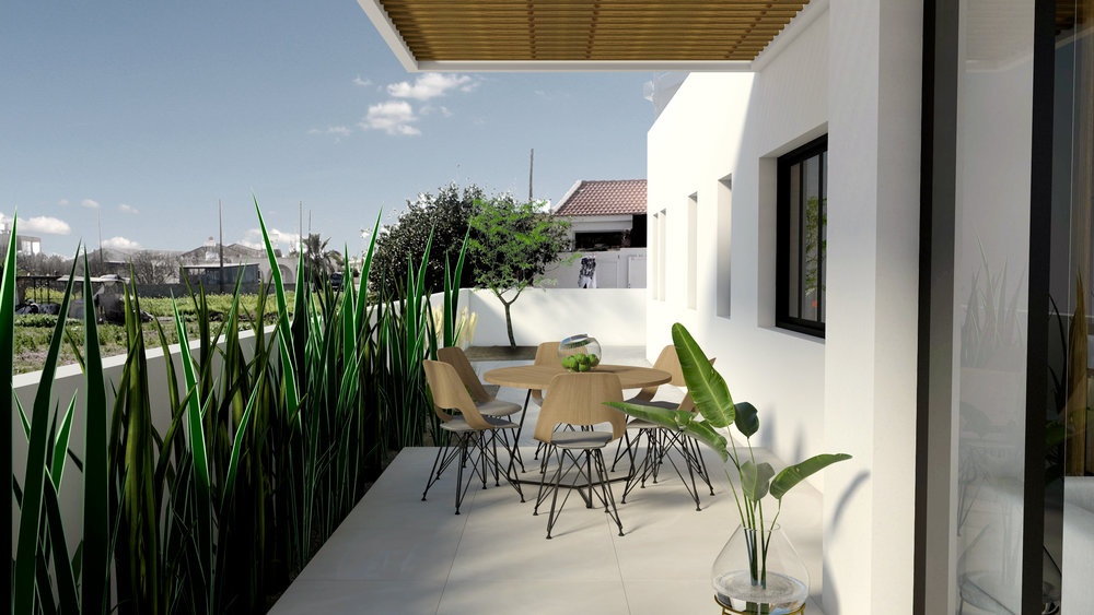 OUTDOOR DINING - PRIVATE VERANDA VIEW - ARCHITECTURAL RENDER