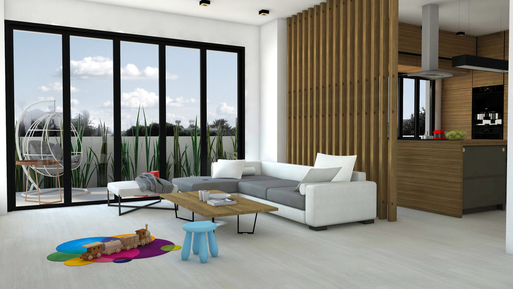 LIVING ROOM - INTERIOR DESIGN RENDERING