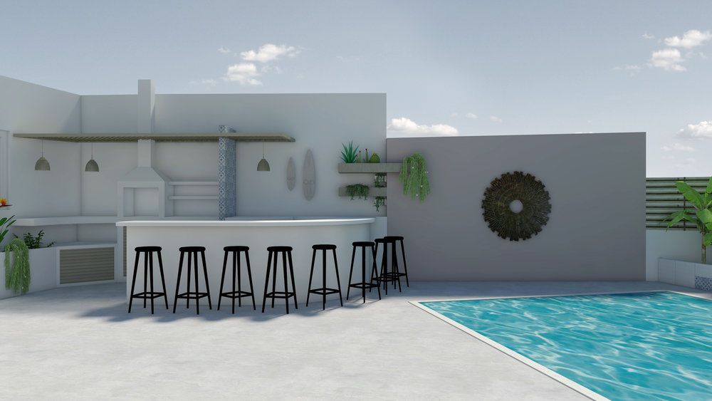 POOLSIDE LAYOUT MINIMAL TROPICAL DESIGN