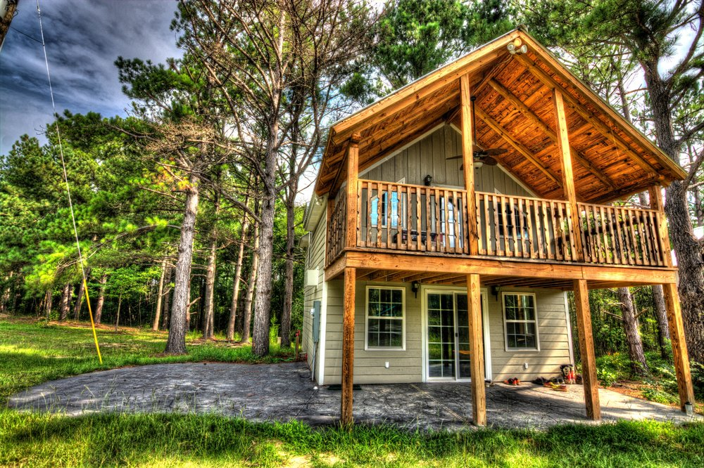 - $575 additionalDeluxe cabins/single occupancy-2 bedrooms, kitchen, bath, living, decks, patio, laundry.