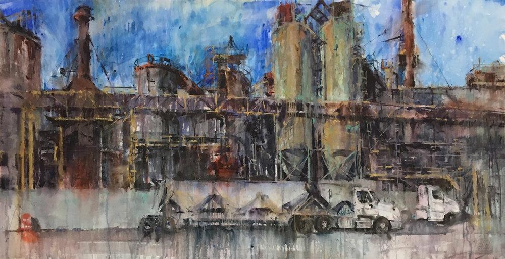 """GAF-On-Ponca"", watercolor by Ken Karlic, 36 x 72 in. Final"