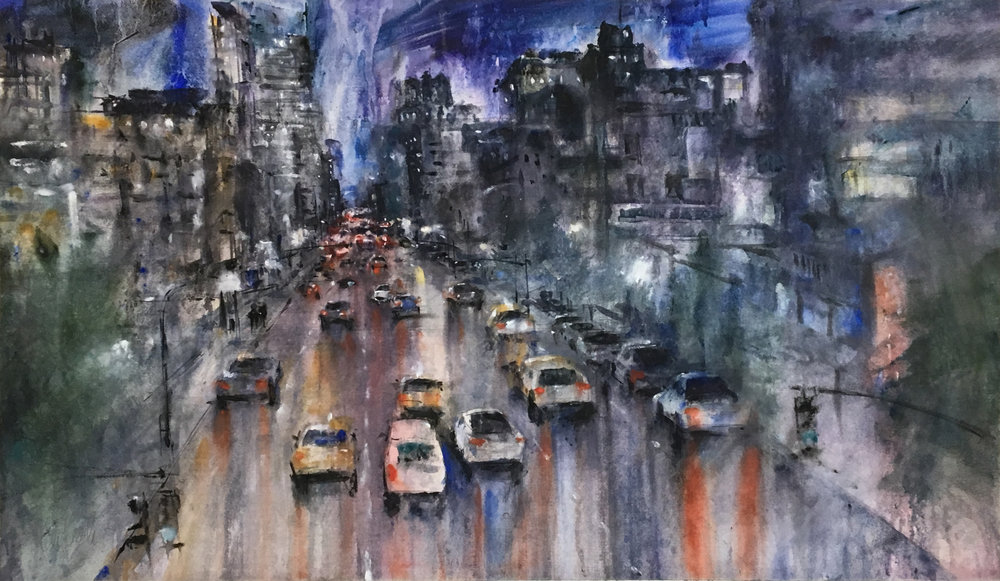 Ken Karlic,  Metropolis , watercolor, 30 x 50 in.